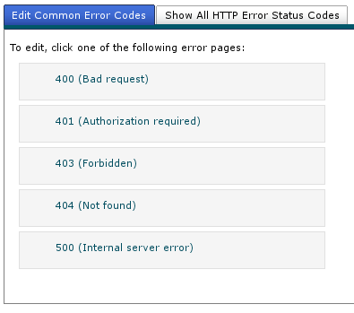 Cpanel choose error page to edit