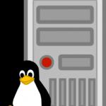 Linux penguin in front of server